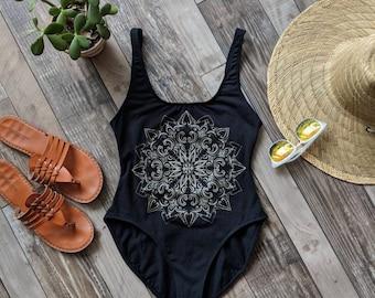 Wild Flower Mandala Open Back Bodysuit Deep Scoop Back One Piece Tank Bodysuit Black Hand Printed Leotard | Sizes XS,S,M,L