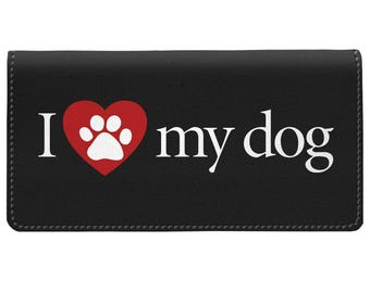 I Love My Dog Checkbook Cover One Size Red White Black Dog Lover Gift Check Book Pocket, Check Book Cover, Checkbook Case, Check book Holder