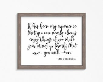Anne of Green Gables-L.M. Montgomery-quote printable-Digital files-farmhouse decor-instant download-Anne with an E-home decor print