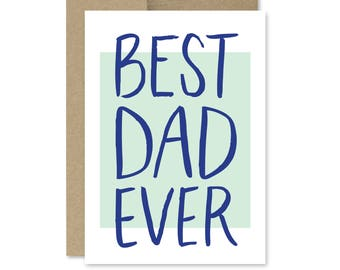 Printable Father's Day Card - Instant Download - Best Dad Ever - Card for Dad - Printable Fathers Day Card
