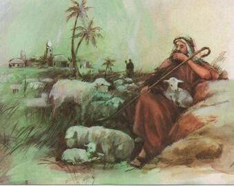 Shepherd Tending Sheep, Used Christmas Card, c1970s, good shape, Vintage