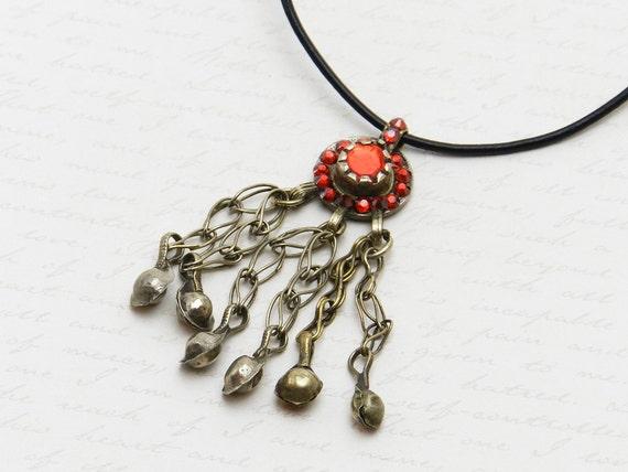 Vintage Kuchi Coin Necklace with original orange/red glass centerpiece - embellished with Swarovski crystal in orange/red
