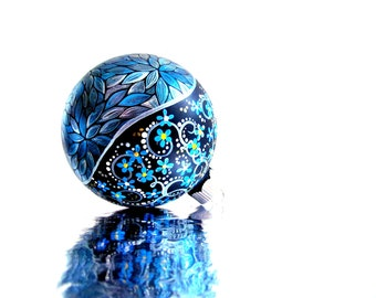Blue Christmas Metallic Blue: Hand painted Christmas Ornament Blue and silver