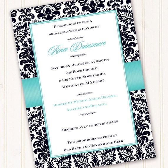 Tiffany Blue And Black Wedding Ideas: Wedding Invitations Thank You Cards Bridal Shower