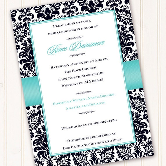 bridal shower invitations, wedding shower invitations, thank you cards, turquoise bridal shower invitation, recipe exchange, IN157