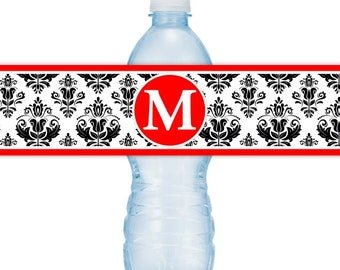 Damask Water Bottle Labels, CUSTOM Monogram Water Bottle Labels, Printable Water Bottle Labels, YOU print, you cut, DIY water bottle labels
