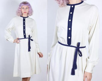 70s Belted Dress // Vintage Secretary Button Up  Long Sleeve Knee Length Dress - Extra Large to XXL
