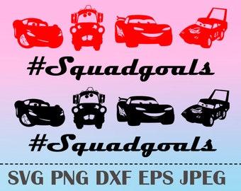 SVG Squadgoals Lightning McQueen CARS3 Vector Layered Cut File Silhouette Cameo Cricut Design Template Stencil Vinyl Decal Tshirt Transfer