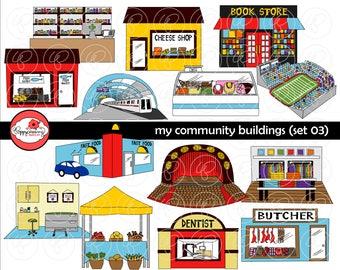 Meine öffentlichen Gebäuden (Set 03) Cliparts: (300 dpi transparent Png) Lehrerin Clip Art kreatives Schreiben U-Bahn Theater Zahnarzt Boutique