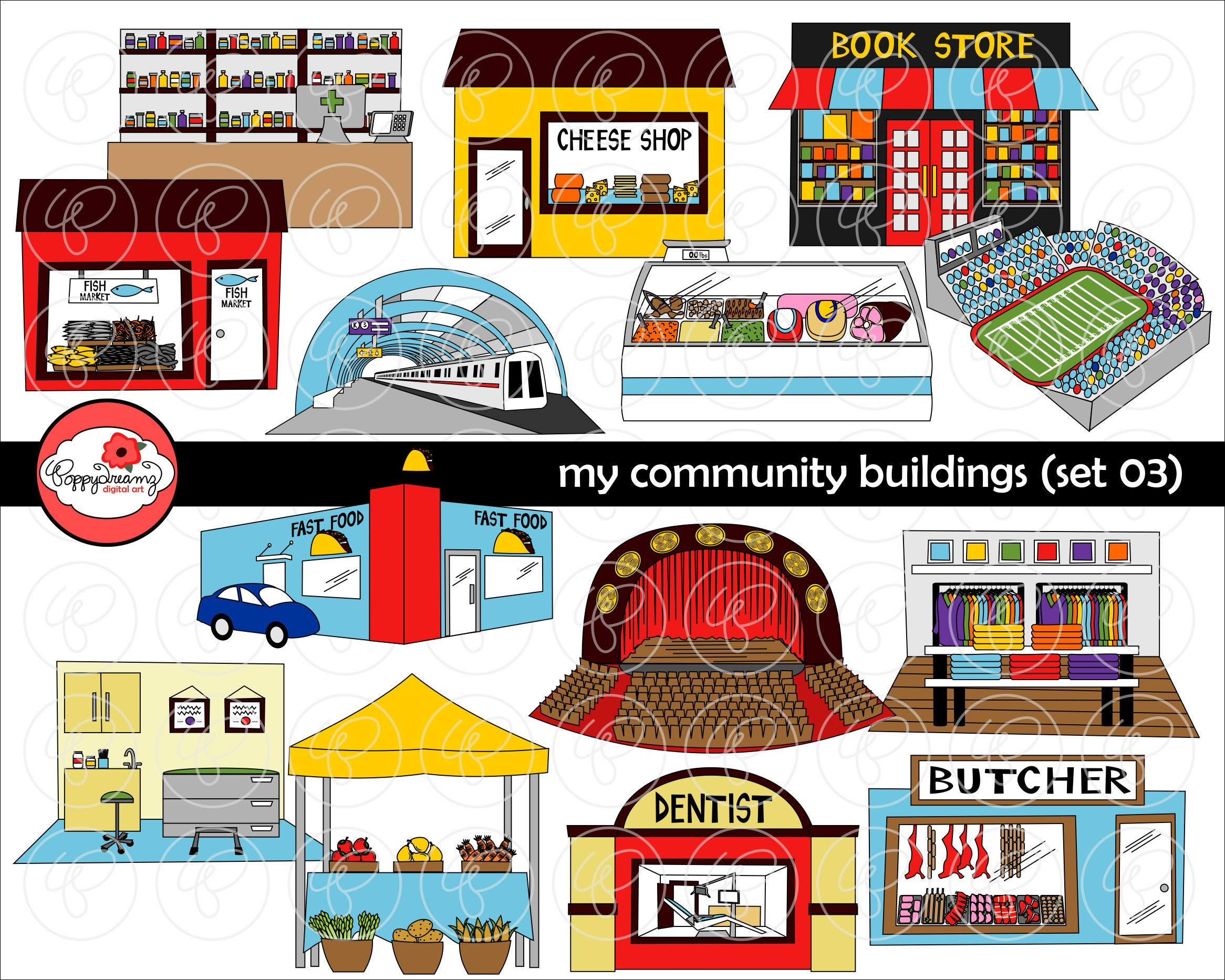 My Community Buildings Set 03 Clipart: 300 dpi transparent