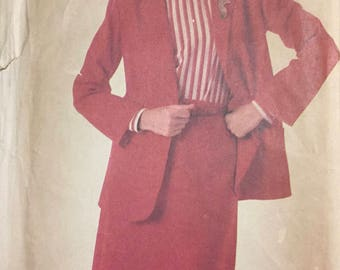 Vintage 80's Misses' Skirt and Jacket Sewing Pattern Simplicity 688 Super Saver Bust 32-36 Size 10-14  Complete