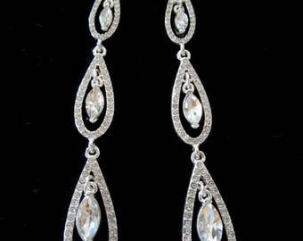 Three Tear Long Drop Earrings - Reversible Earrings - Jewelry - Diamond Look  Tear Drop Earrings - Nickle Free Earrings -