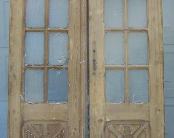 antique wood doors,curved glass panels,mediterranean salvage european doors,carved pine doors,architectural,tall wood door,old heavy doors