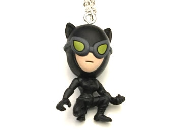 Catwoman Necklace, Superhero Necklace, Action Figure Necklace, Gotham, Villian Necklace, Arkham Necklace