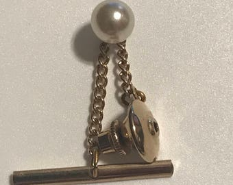 Vintage Faux Pearl Tie Tack Gift for Him Tie Accessory