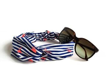 Hair band blue with white stripes and flamingo print, summer hair band, hair ornaments, hair band for ladies, headband for ladies, hair accessory
