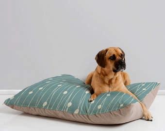 Modern Geometric Dog Bed // Dog Pillow // Animal Pillow // Pet Bedding // Pet Mat // Modern Pet Bedding // Entangled Design // Sage Green