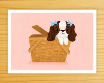 Picnic Basket Pup 5x7 Art Print