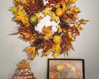ESE Fall Harvest Thanksgiving Vintage Ground & Maple Leaves Wreaths,  24""