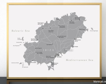 Diy travel pinboard etsy printable map of eivissa grayscale map of ibiza spain ibiza printable map spanish gumiabroncs Image collections