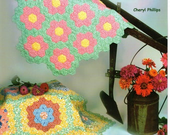 1 Granny Lou's Flower Garden Quilt Pattern with a stencil with instructions  Hexagon Quilt New Package sewing supply Round Quilt