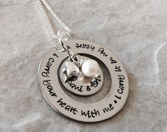 Personalized mothers grandmothers necklace I carry your heart with me I carry it in my heart with freshwater pearl and name