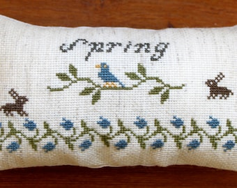 "Mini Primitive Cross Stitch Spring Pillow- 7""x4""- Made to Order"