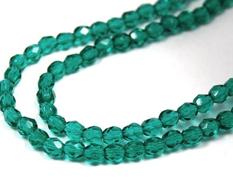 100/pc Emerald Czech 4mm Fire-polished Faceted Round Beads