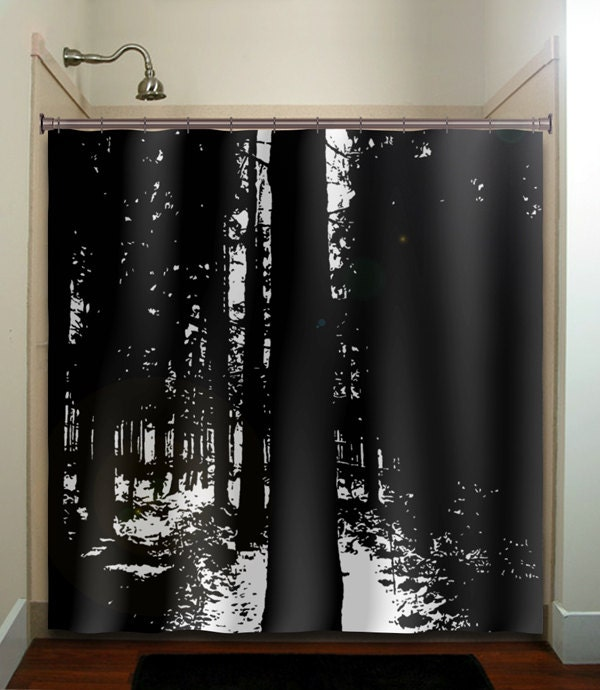 Dark Woods Black Forest Trees Shower Curtain Extra Long