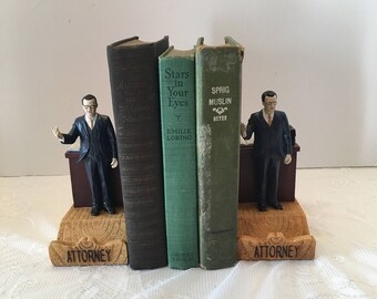 Attorney Bookends ~ Lawyer Bookends ~ Set of Two ~ Shabby Chic ~ Whimsical ~ Vintage