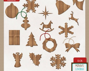 Wooden Christmas Ornaments - Digital Scrapbooking - Cards Invitations - Set of 16 High Resolution - CU OK