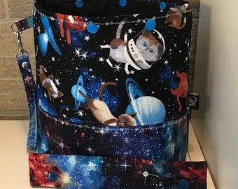 Cats in space snap top project bag with flat bottom and knitting needle cozy - ready to ship