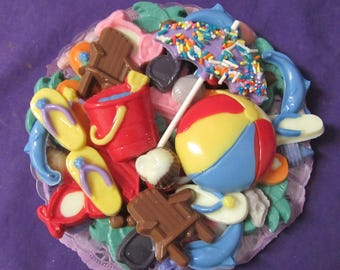 Life's a beach Summer tropical ocean swim chocolates candy tray