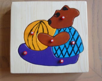 Handmade puzzle of solid wood - bear