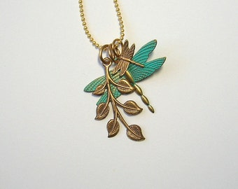 Blue Dragonfly Charm Necklace, leaves, blue, gold, fairy, woodland, sprite