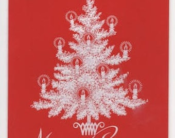 Merry Christmas image from vintage greeting card - christmas - christmas tree - red - christmas candles - keating - greeting card