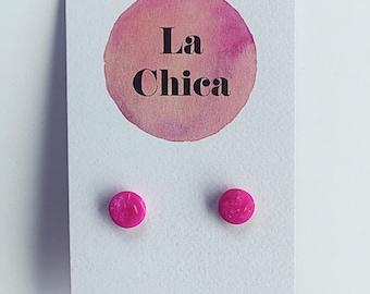 LaChicaByTahlia ~ Fuchsia Circular Stud Earrings
