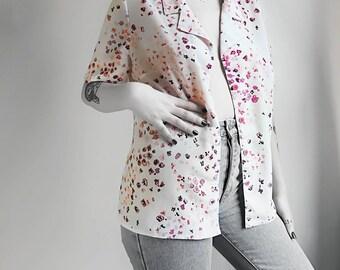 Vintage 80's graphic flower print blouse