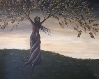 Olive Tree, Olive Branch, Original Surreal Fine Art Painting, Tree People, Olive Branch Art, Fantasy Painting