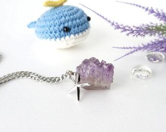 Big Druzy Amethyst Raw Crystal Necklace with Starfish Charm, February Birthstone Jewelry OOAK
