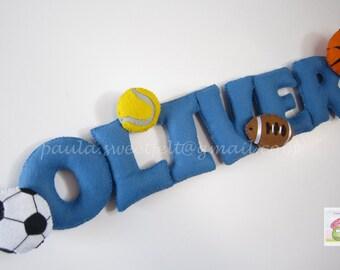Sport Balls Felt Sign (name banner)