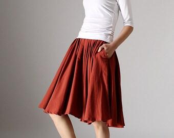 flared skirt, midi skirt, linen skirt, pleated skirt, pocket skirt, mini skirt, skater skirt, womens skirts, mod clothing (978)
