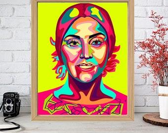 LADY GAGA Print - Colorful Poster Drawing Art