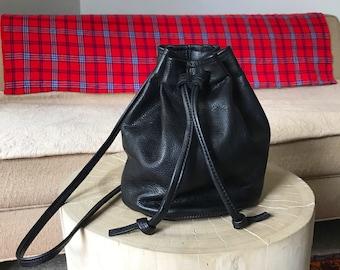 black leather bucket bag. summer hobo bag.  black leather pouch. leather cinch sack. black handbag- Sale