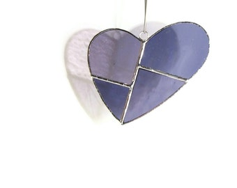 Heart Suncatcher in Purple Stained Glass