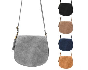 Small leather bag with fringes by ImiLoa suede in camel Brown, grey, taupe, rust brown shoulder bag genuine leather women