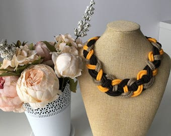 Multicolor rope necklace- Yellow and brown necklace- Knot Necklace- Nautical necklace- Bib necklace- Necklace for her- Christmas gift