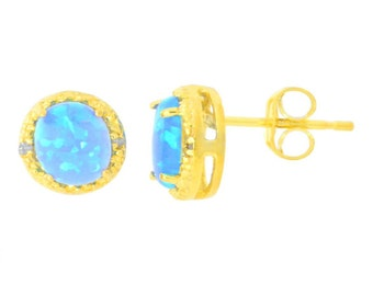 14Kt Yellow Gold Plated Blue Opal & Diamond Round Stud Earrings