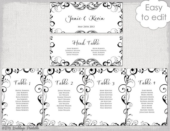 Adorable image with printable wedding seating chart template