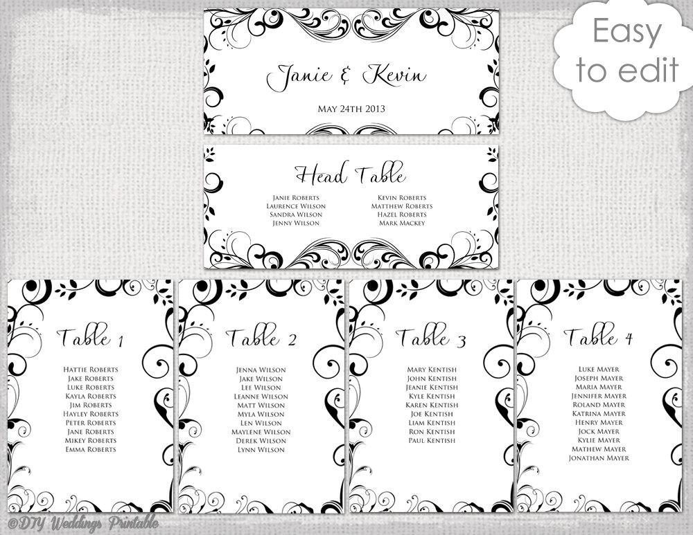 Hochzeit-Bestuhlung Diagramm Vorlage Black And White